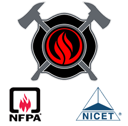 Fire Code, NFPA & NICET Logos